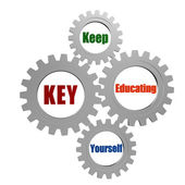 KEY - keep educating yourself in silver gears — Stock Photo