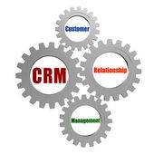CRM - customer relationship management in silver grey gears — Stock Photo
