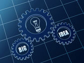 Big idea and light bulb symbol in blue gears — Stock Photo