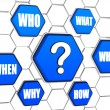 Question-mark and question words in blue hexagons — Stock Photo