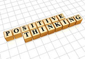 Positive thinking in golden cubes — Stock Photo