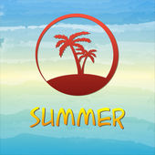 Summer label with palms in circle — Stock Photo