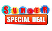 Summer special deal orange banner with color circles — Stock Photo