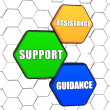 Assistance, support, guidance in colorful hexagons — Stock Photo