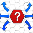 Question-mark sign with arrows in red hexagon — Photo