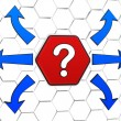 Question-mark sign with arrows in red hexagon — 图库照片