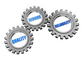 Quality, service, reliability in silver grey gears — Stock Photo