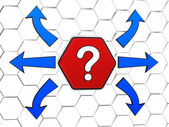 Question-mark sign with arrows in red hexagon — Stock Photo