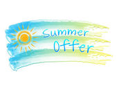 Summer offer and sun on drawing flag — Stock Photo