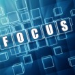 Stock Photo: Focus in blue glass cubes - business concept