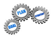 Goal, plan and strategy in silver grey gears — Stock Photo