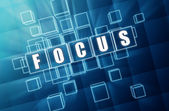 Focus in blue glass cubes - business concept — Stock Photo