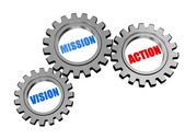 Vision, mission, action in silver grey gears — Stock Photo