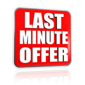 Last minute offer in red banner — Stock Photo