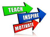教、 鼓舞、 激励在箭头 — 图库照片