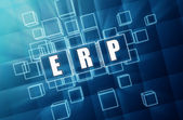ERP in blue glass cubes - business concept — Stok fotoğraf