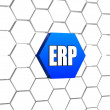 ERP sign in blue hexagon — Stock Photo