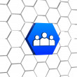 People sign in blue hexagon — Stock Photo