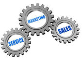 Service, marketing, sales in silver grey gears — Stock Photo