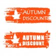 Stockfoto: Autumn discount drawn banner with fall leaf
