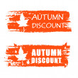 Autumn discount drawn banner with fall leaf — Foto Stock #32030383