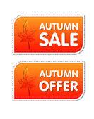 Höstens försäljning och erbjuda etiketter höst löv — Stockfoto