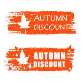 Outono banner de desconto desenhada com queda de folha — Foto Stock