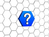 Question sign in blue hexagon — Stock Photo