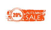 Sonbahar satılık çizilmiş afiş 20 yüzdeleri ve sonbahar yaprak ile — Stok fotoğraf