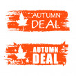 Autumn deal drawn banners with fall leaf — Stock Photo