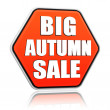 Stock Photo: Big autumn sale orange hexagon banner