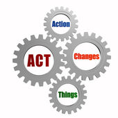Act - action, changes, things in silver grey gears — Stock Photo