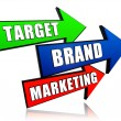 Target, brand, marketing in arrows — Stock Photo