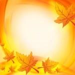 Autumn leaves over orange yellow background — Stock Photo #33192967