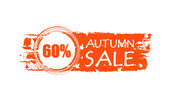 Autumn sale drawn banner with 60 percentages and fall leaves — Stock Photo