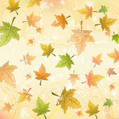 Autumn leaves over old paper retro background — Stock Photo