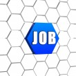 Job on blue hexagon — Stock Photo