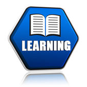 Learning and book sign in blue hexagon banner — Stock Photo