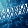 Stock Photo: Content management in blue glass cubes - internet concept