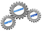 Content management system in silver grey gears — Stock Photo