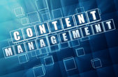 Content management in blue glass cubes - internet concept — Stock Photo