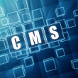 CMS in blue glass cubes - internet concept — Stock Photo