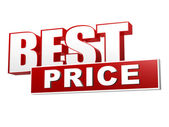 Best price in red white banner - letters and block — Stockfoto