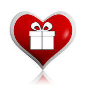 Present box symbol in red heart banner — Stock Photo