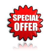 Special offer in red star banner — Stock Photo