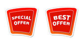 Special and best offer in red banners — Stock Photo