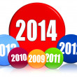 New year 2014 and previous years in colored circles — Zdjęcie stockowe