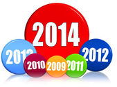 New year 2014 and previous years in colored circles — Stock Photo