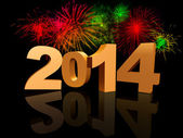 Golden new year 2014 with fireworks — Stock Photo