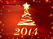 Golden new year 2014 and christmas tree with stars — Stock Photo